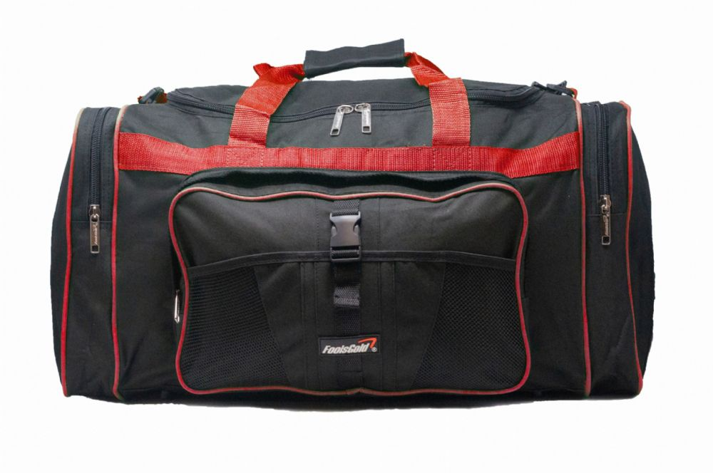 Large 50L foolsGold® Sports Holdall Bag - Black/Red